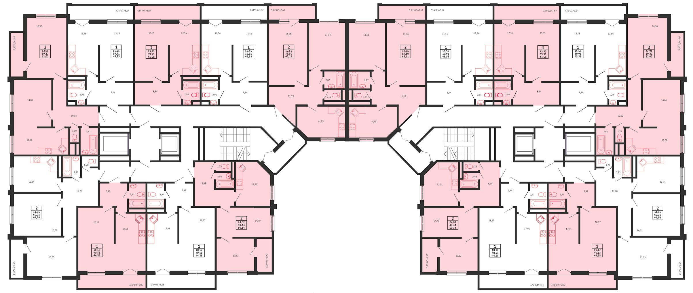 Планировка ЖК Арена Парк - Подъезд  - Этаж