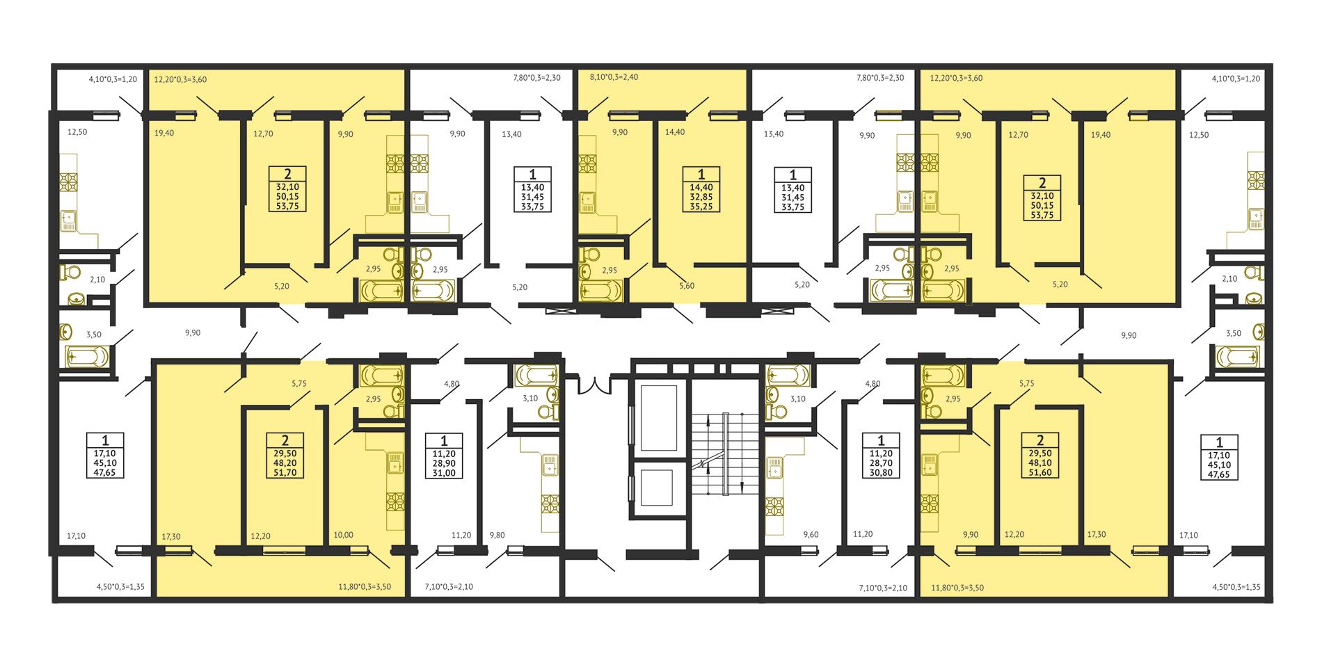 Планировка ЖК Оникс Литер 1 - Подъезд 3 - Этаж Типовой