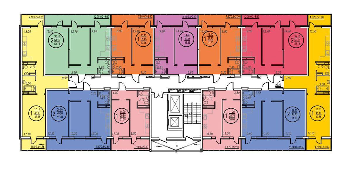 Планировка ЖК Оникс - Подъезд 3 - Этаж 2, 5 - 9, 12 - 17