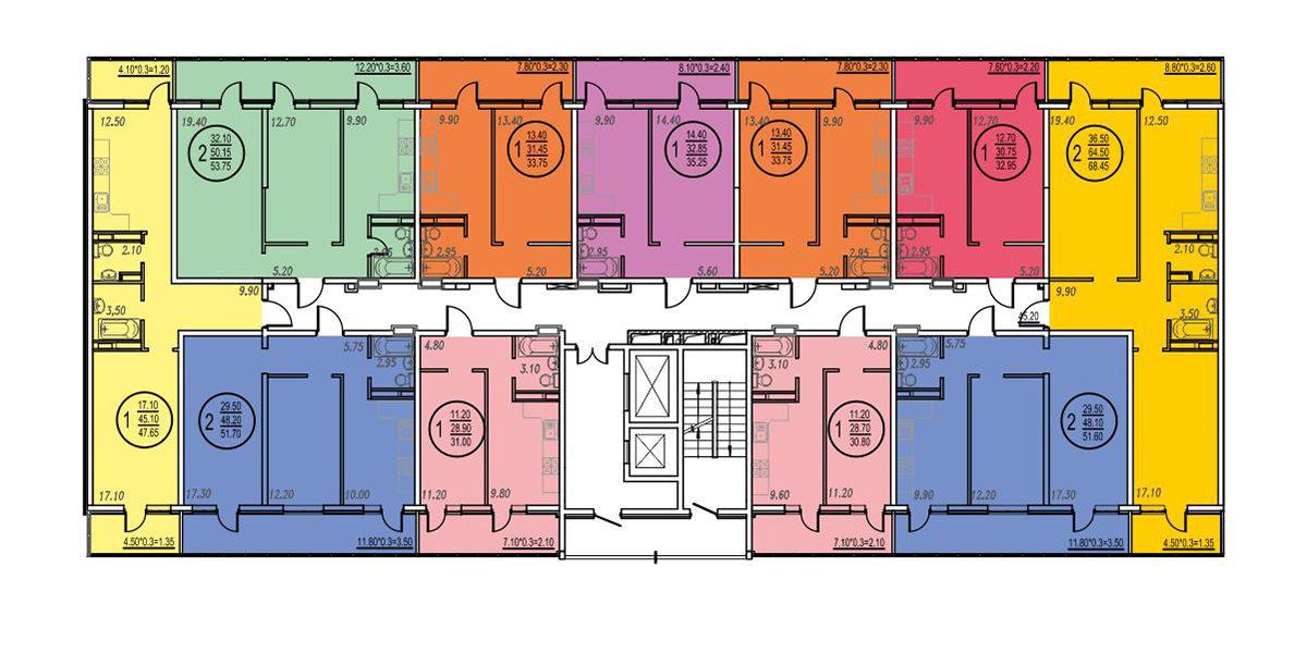 Планировка ЖК Оникс - Подъезд 3 - Этаж 3, 10-11