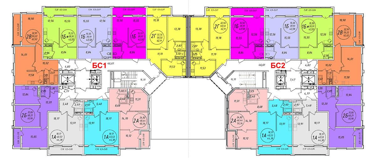 Планировка ЖК Арена Парк - Подъезд 1-2 - Этаж 1-16