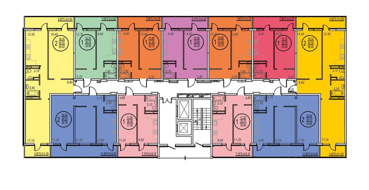 Планировка ЖК Оникс - Подъезд 3 - Этаж 4