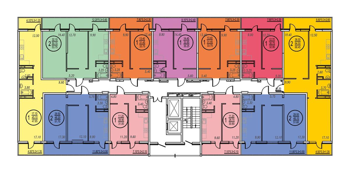 Планировка ЖК Оникс - Подъезд 3 - Этаж 2, 5, 10, 11, 17