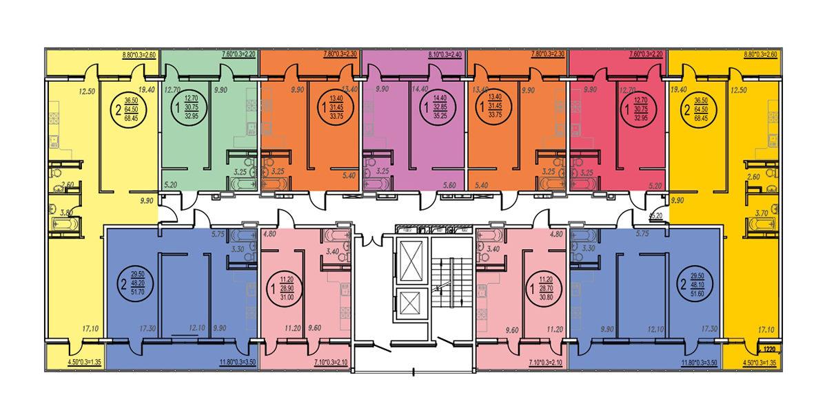 Планировка ЖК Оникс - Подъезд 3 - Этаж 3, 7