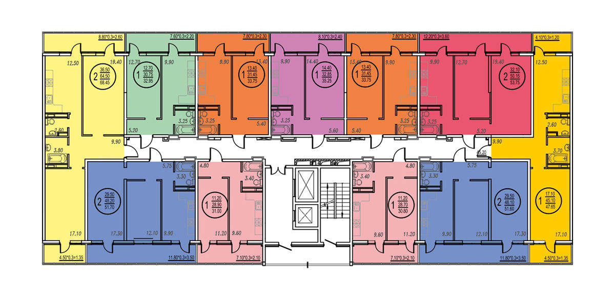 Планировка ЖК Оникс - Подъезд 3 - Этаж 4, 9