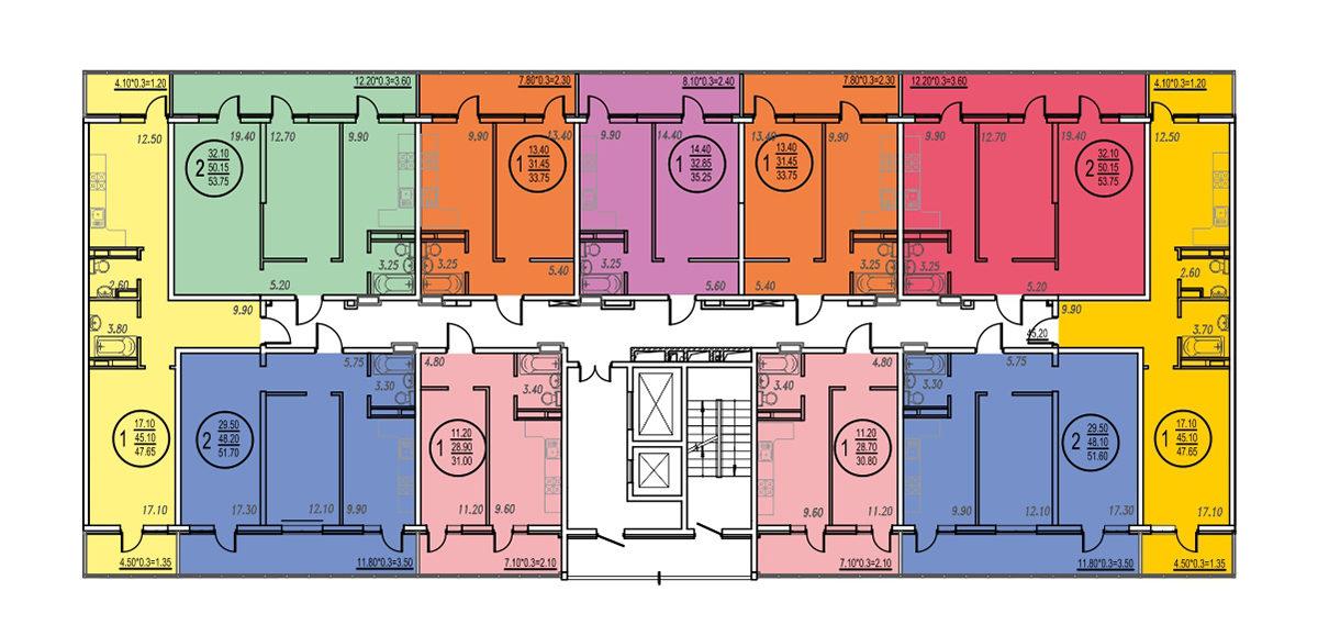 Планировка ЖК Оникс - Подъезд 3 - Этаж 6, 8, 12-16