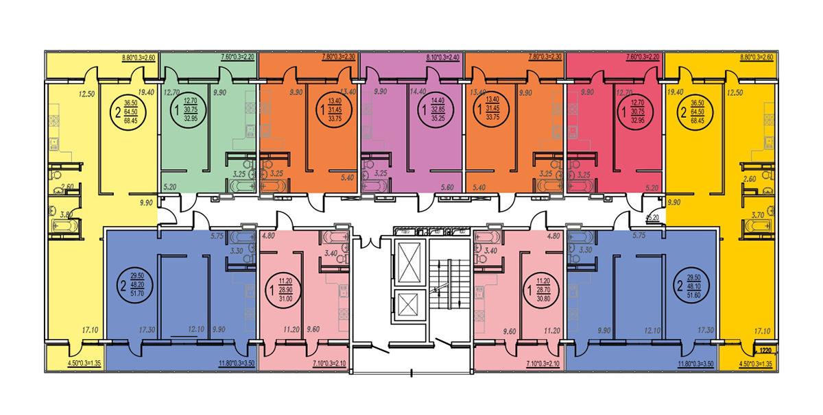 Планировка ЖК Оникс - Подъезд 3 - Этаж 18