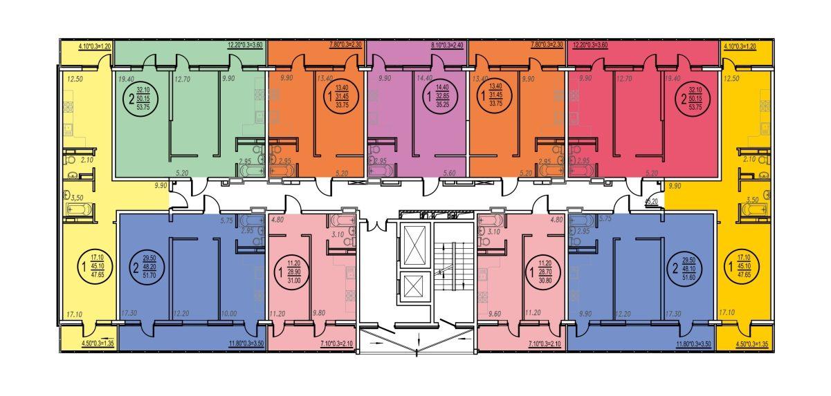 Планировка ЖК Оникс - Подъезд 3 - Этаж 2, 5, 6, 8-17