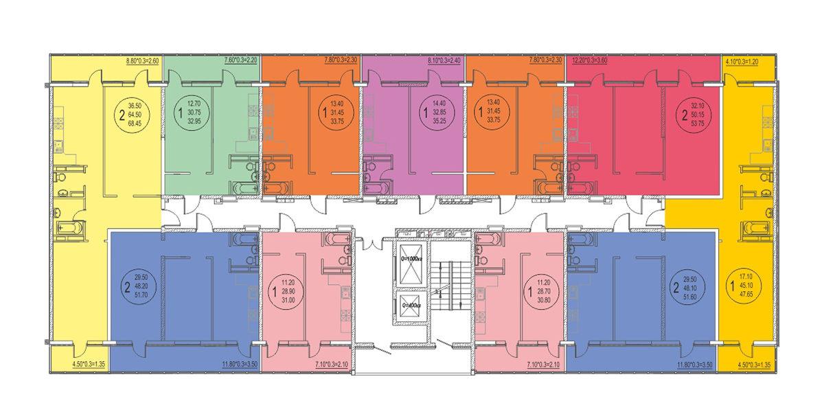Планировка ЖК Оникс - Подъезд 3 - Этаж 3, 4