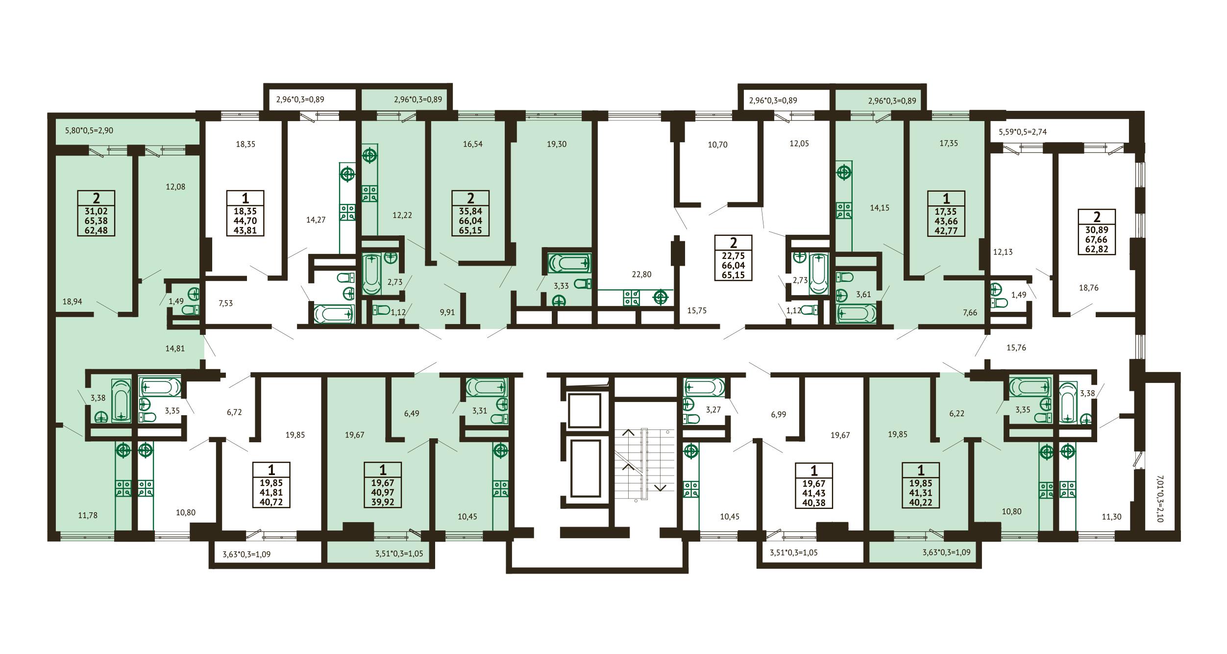 Планировка ЖК Грин Парк Литер 3 - Подъезд 2 - Этаж 2-8