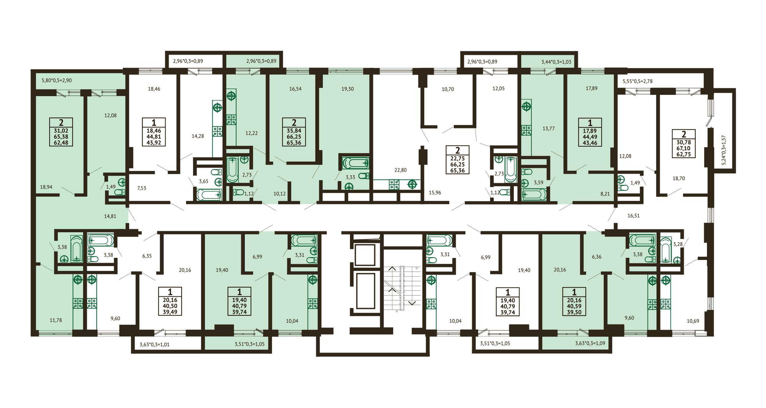 Планировка ЖК Грин Парк Литер 3 - Подъезд 2 - Этаж 12-16