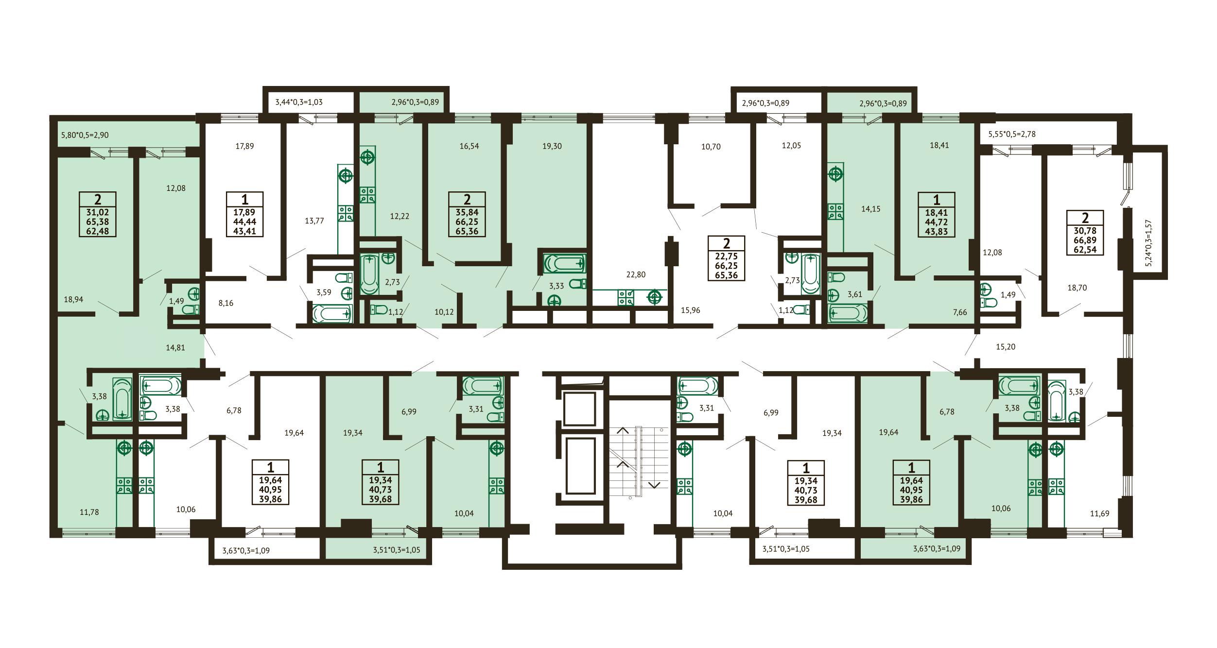 Планировка ЖК Грин Парк Литер 3 - Подъезд 2 - Этаж 10