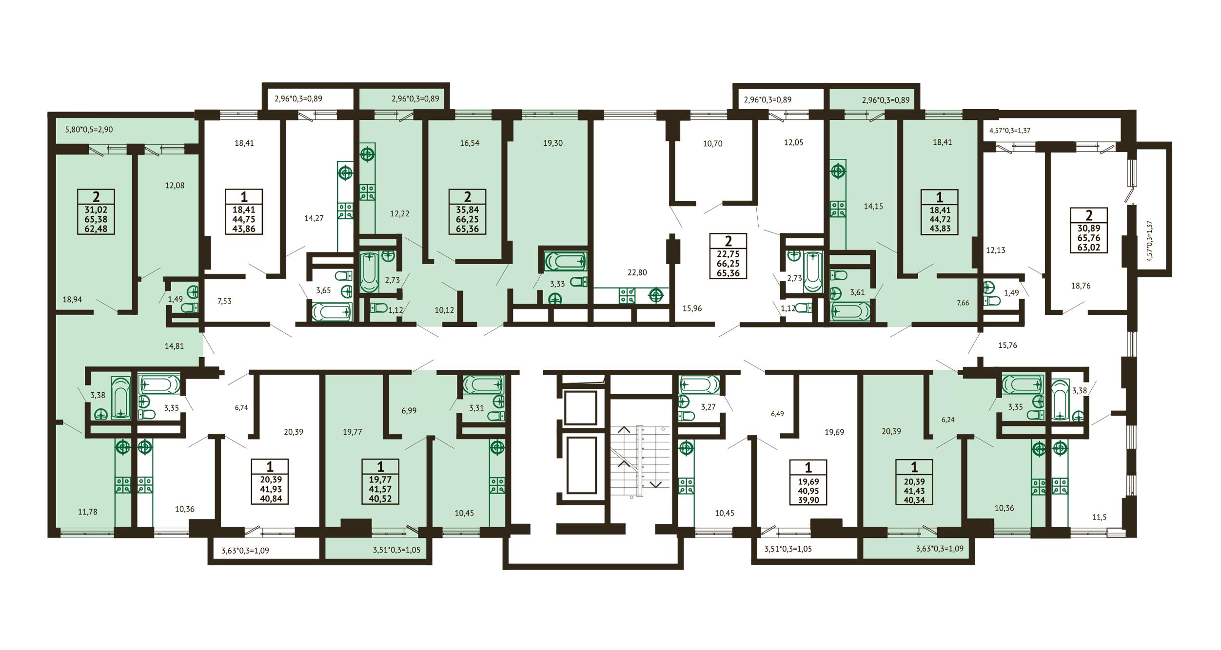 Планировка ЖК Грин Парк Литер 3 - Подъезд 2 - Этаж 11