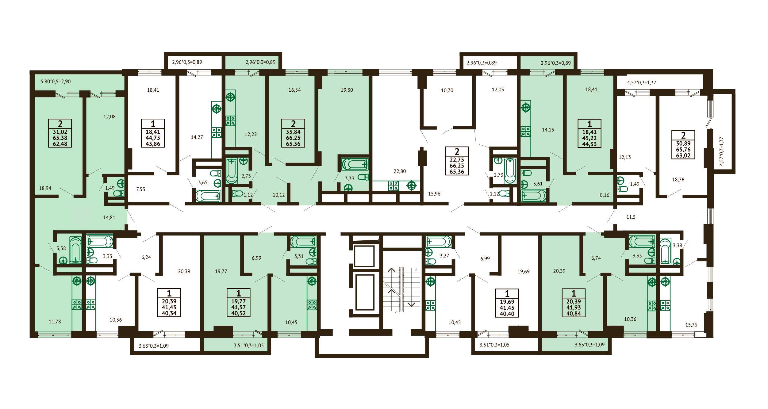 Планировка ЖК Грин Парк Литер 3 - Подъезд 2 - Этаж 9