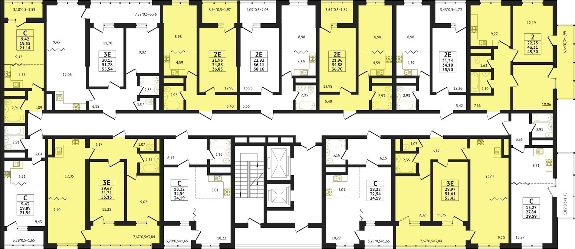 Планировка ЖК Оникс Литер 2 - Подъезд 3 - Этаж Типовой